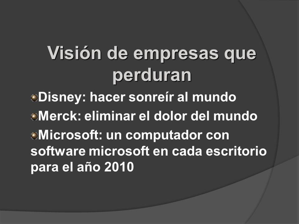 Visión de empresas que perduran Disney: hacer sonreír al mundo Merck: eliminar el dolor del mundo Microsoft: un computador con software microsoft en c