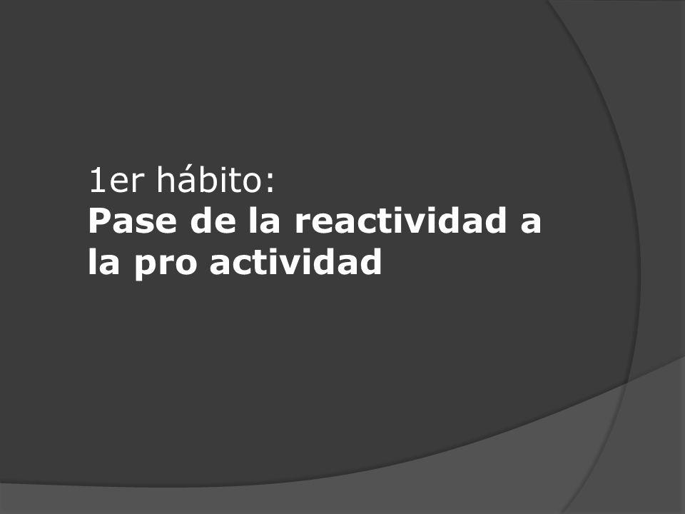 1er hábito: Pase de la reactividad a la pro actividad