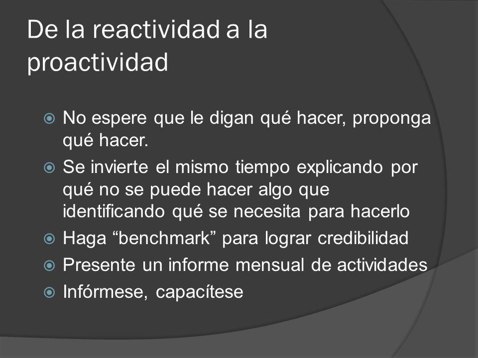 De la reactividad a la proactividad No espere que le digan qué hacer, proponga qué hacer. Se invierte el mismo tiempo explicando por qué no se puede h