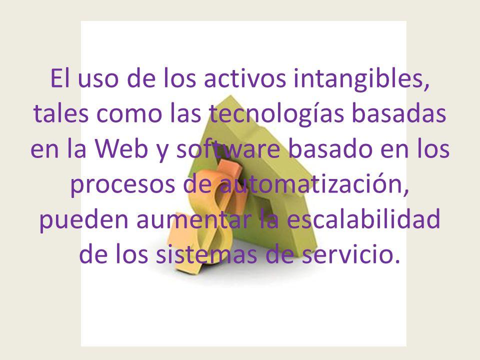 El uso de los activos intangibles, tales como las tecnologías basadas en la Web y software basado en los procesos de automatización, pueden aumentar la escalabilidad de los sistemas de servicio.