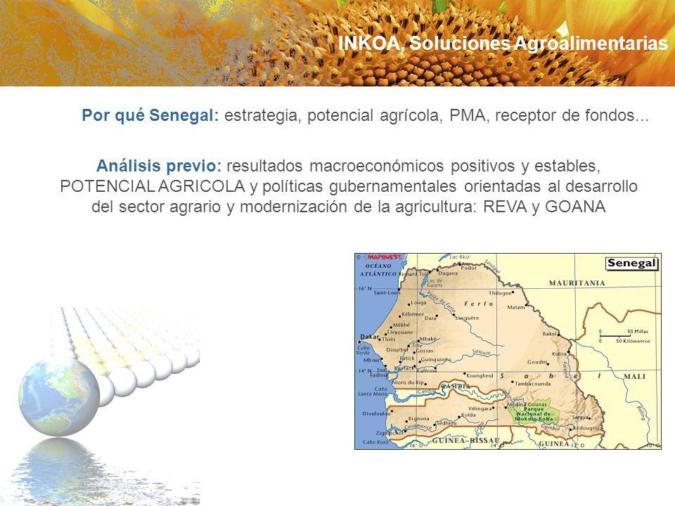 Por qué Senegal: estrategia, potencial agrícola, PMA, receptor de fondos... Análisis previo: resultados macroeconómicos positivos y estables, POTENCIA