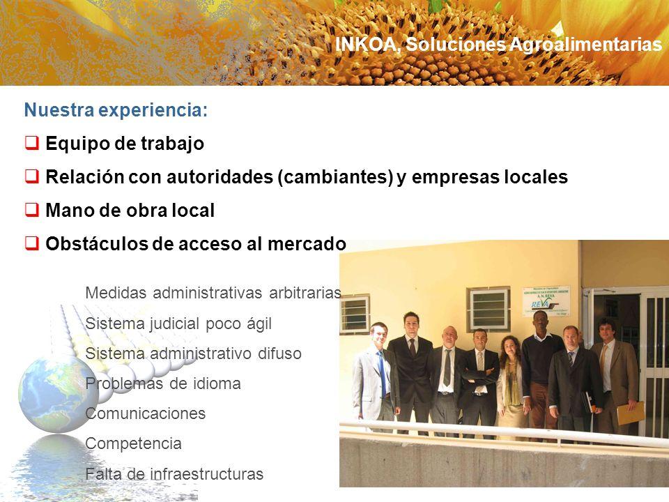Nuestra experiencia: Equipo de trabajo Relación con autoridades (cambiantes) y empresas locales Mano de obra local Obstáculos de acceso al mercado Med