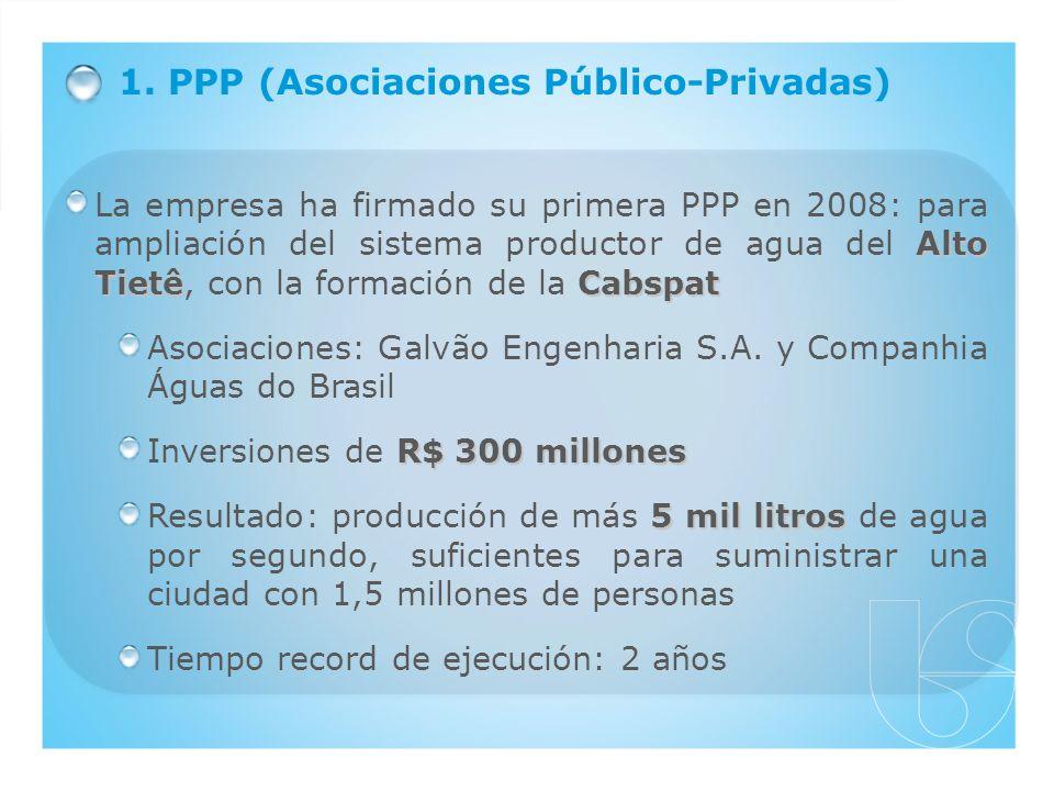 1. PPP (Asociaciones Público-Privadas) Alto TietêCabspat La empresa ha firmado su primera PPP en 2008: para ampliación del sistema productor de agua d