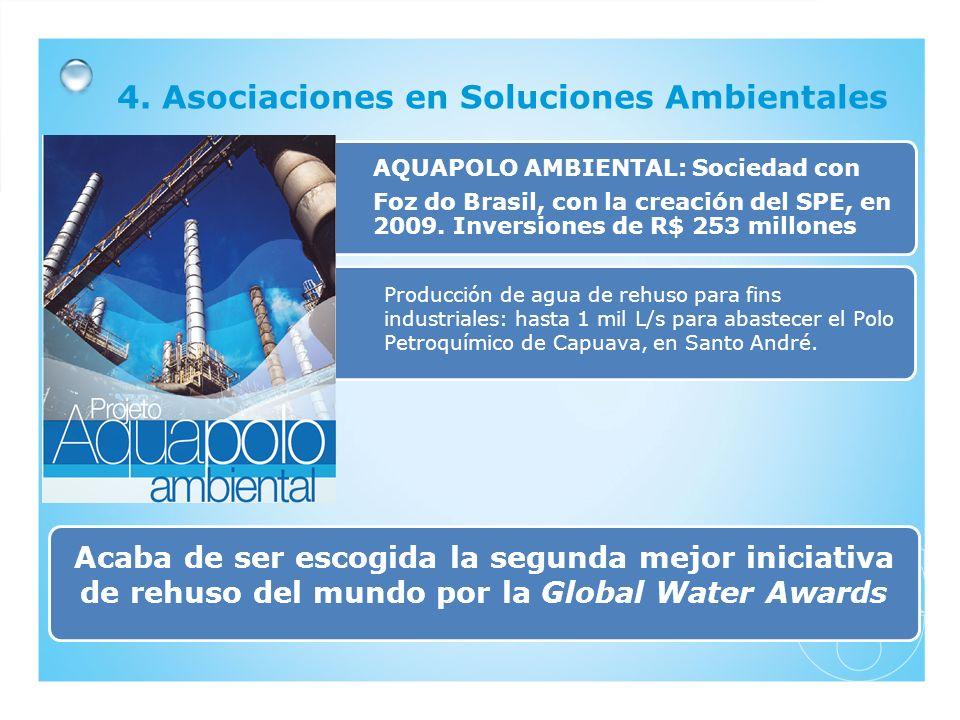 4. Asociaciones en Soluciones Ambientales AQUAPOLO AMBIENTAL: Sociedad con Foz do Brasil, con la creación del SPE, en 2009. Inversiones de R$ 253 mill