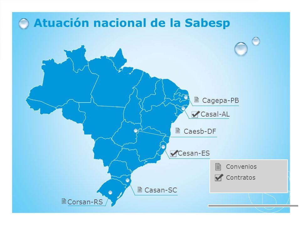 Corsan-RS Casan-SC Cesan-ES Casal-AL Cagepa-PB Caesb-DF Atuación nacional de la Sabesp Contratos Convenios
