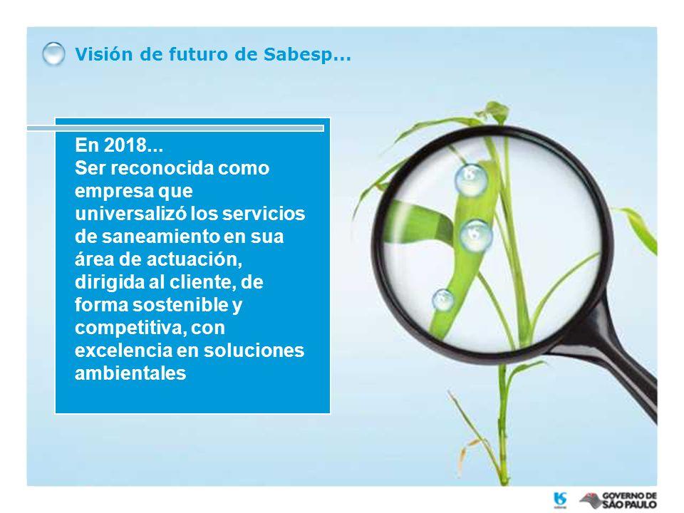 Visión de futuro de Sabesp... En 2018... Ser reconocida como empresa que universalizó los servicios de saneamiento en sua área de actuación, dirigida