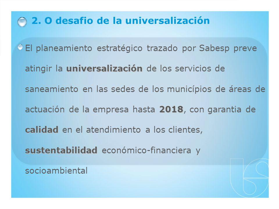 2. O desafio de la universalización universalización 2018 calidad sustentabilidad El planeamiento estratégico trazado por Sabesp preve atingir la univ