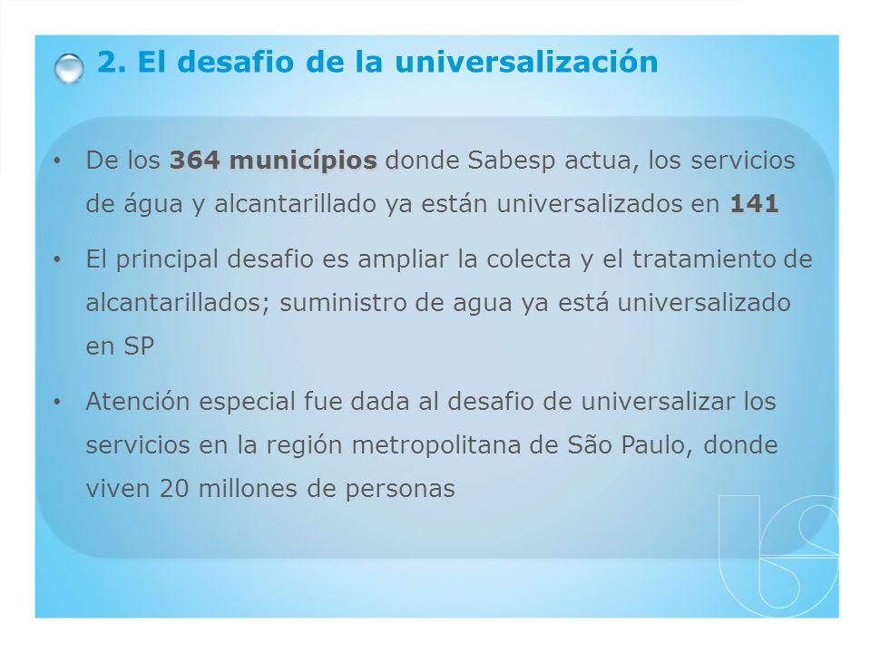 364 municípios d 141 De los 364 municípios donde Sabesp actua, los servicios de água y alcantarillado ya están universalizados en 141 El principal des