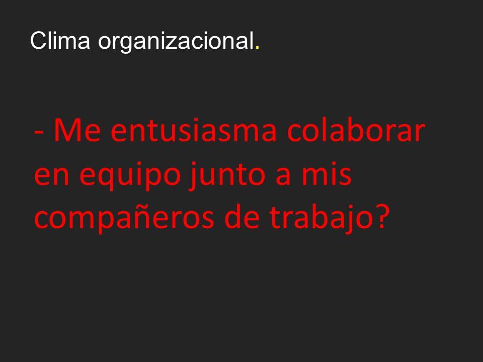 Clima organizacional. - Me entusiasma colaborar en equipo junto a mis compañeros de trabajo