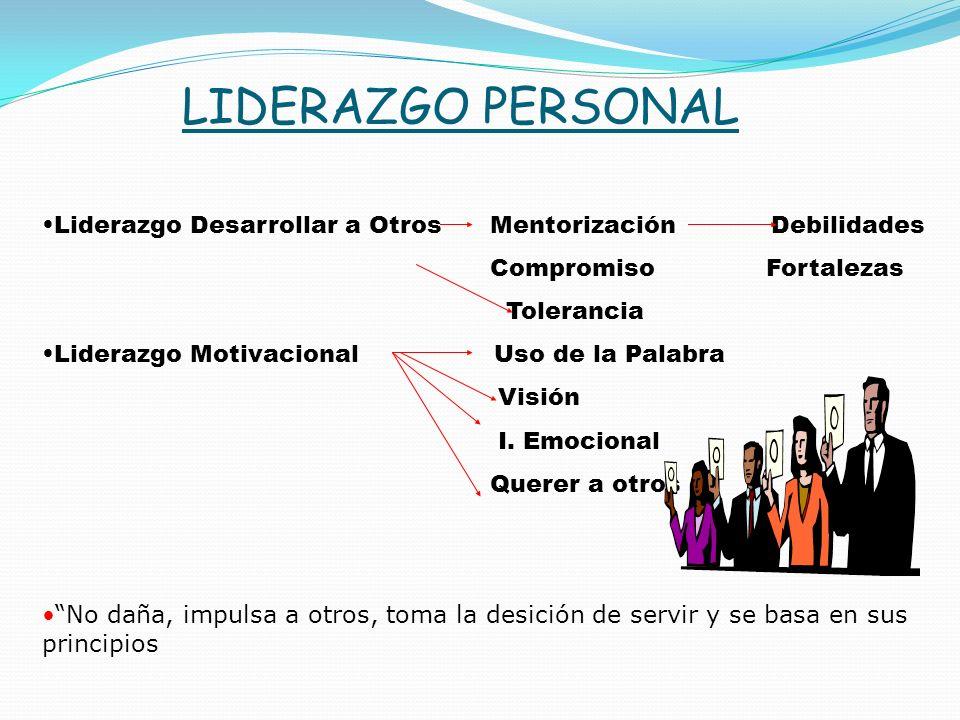 LIDERAZGO PERSONAL Liderazgo Desarrollar a Otros Mentorización Debilidades Compromiso Fortalezas Tolerancia Liderazgo Motivacional Uso de la Palabra Visión I.