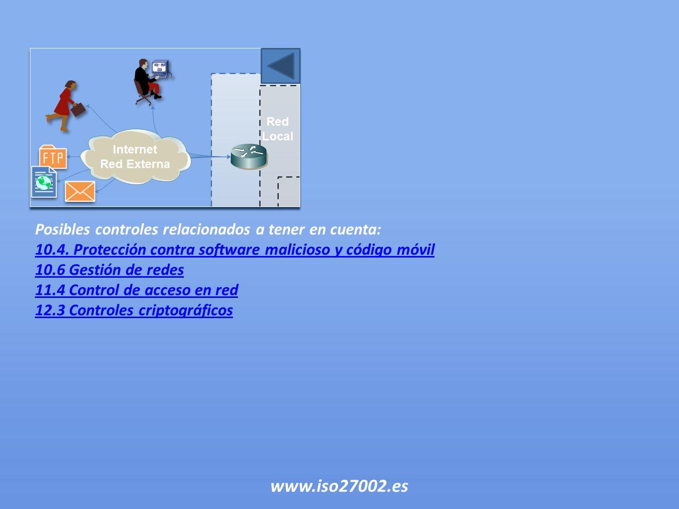 Posibles controles relacionados a tener en cuenta: 10.4. Protección contra software malicioso y código móvil 10.6 Gestión de redes 11.4 Control de acc