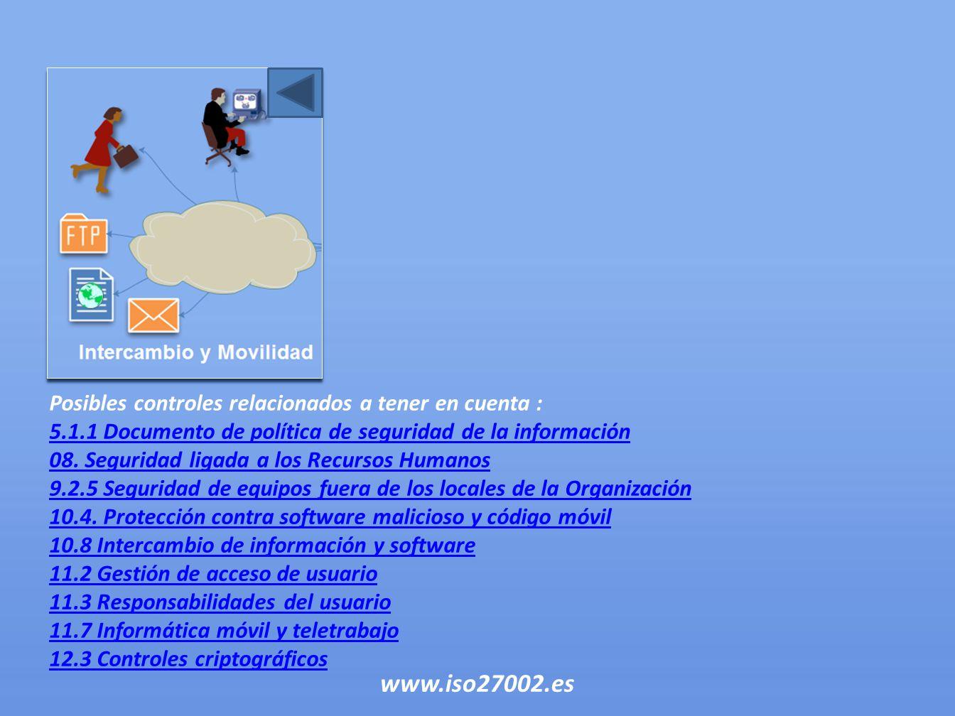 Posibles controles relacionados a tener en cuenta : 5.1.1 Documento de política de seguridad de la información 08. Seguridad ligada a los Recursos Hum