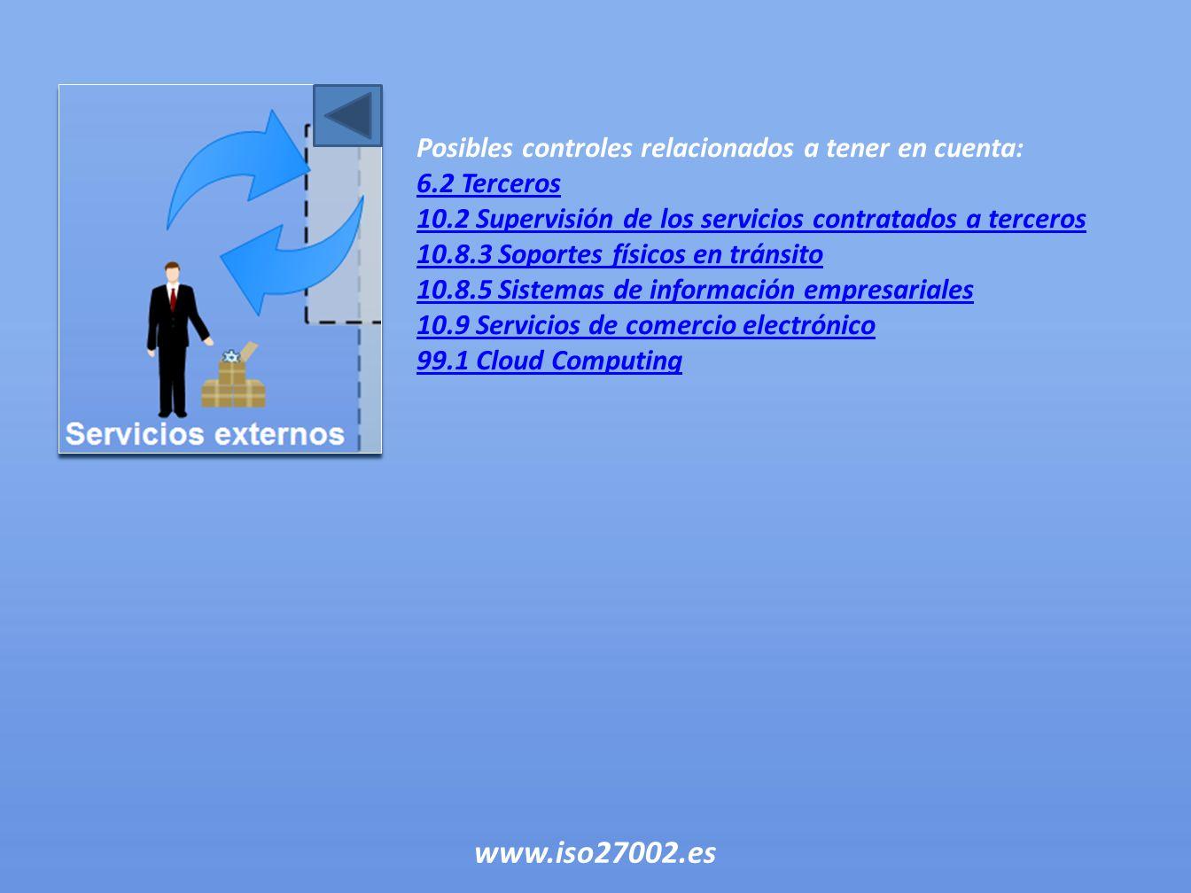 Posibles controles relacionados a tener en cuenta: 6.2 Terceros 10.2 Supervisión de los servicios contratados a terceros 10.8.3 Soportes físicos en tr