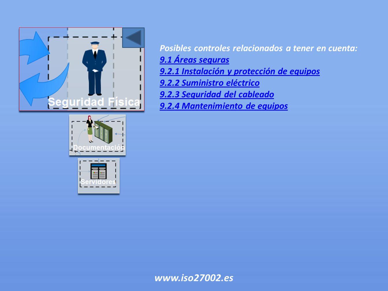 Posibles controles relacionados a tener en cuenta: 9.1 Áreas seguras 9.2.1 Instalación y protección de equipos 9.2.2 Suministro eléctrico 9.2.3 Seguri