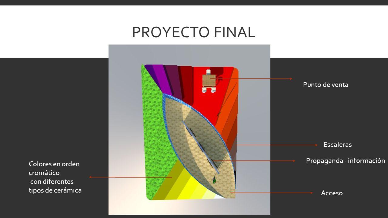 PROYECTO FINAL Punto de venta Acceso Propaganda - información Escaleras Colores en orden cromático con diferentes tipos de cerámica