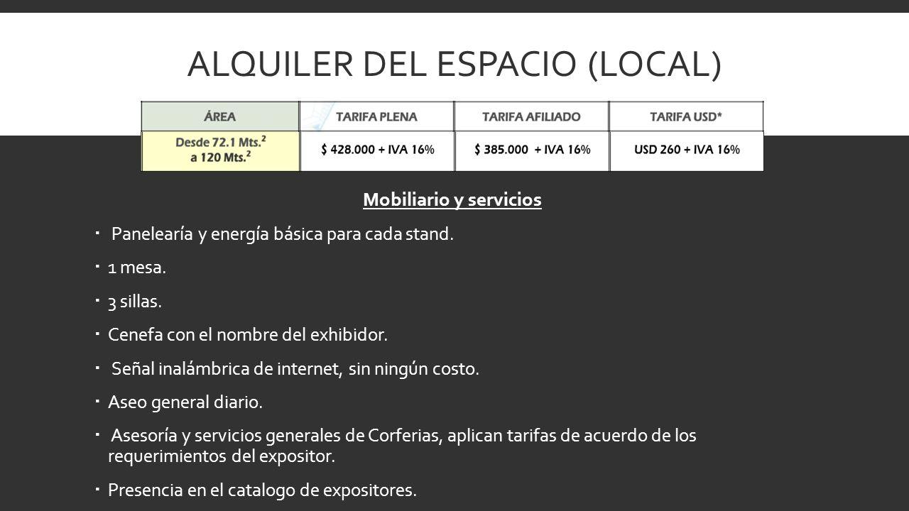 ALQUILER DEL ESPACIO (LOCAL) Mobiliario y servicios Panelearía y energía básica para cada stand. 1 mesa. 3 sillas. Cenefa con el nombre del exhibidor.