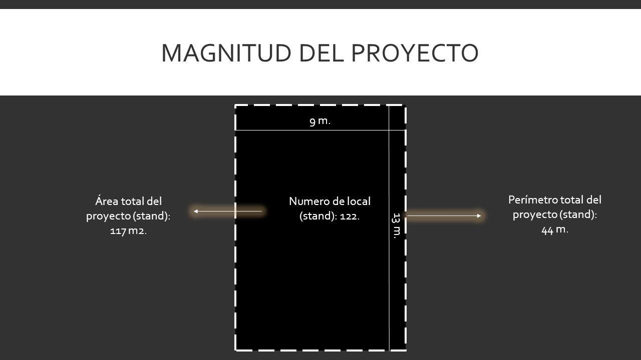 MAGNITUD DEL PROYECTO Perímetro total del proyecto (stand): 44 m. Área total del proyecto (stand): 117 m2. Numero de local (stand): 122. 9 m. 13 m.