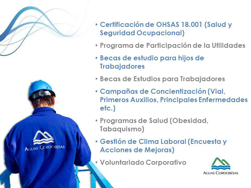 Certificación de OHSAS 18.001 (Salud y Seguridad Ocupacional) Programa de Participación de la Utilidades Becas de estudio para hijos de Trabajadores B