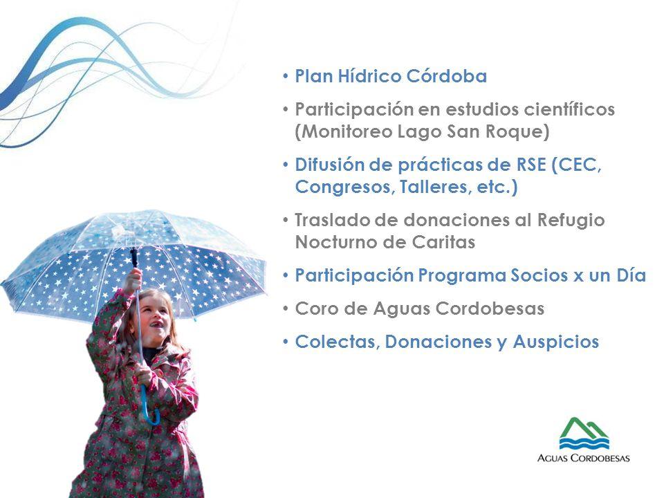 Plan Hídrico Córdoba Participación en estudios científicos (Monitoreo Lago San Roque) Difusión de prácticas de RSE (CEC, Congresos, Talleres, etc.) Tr