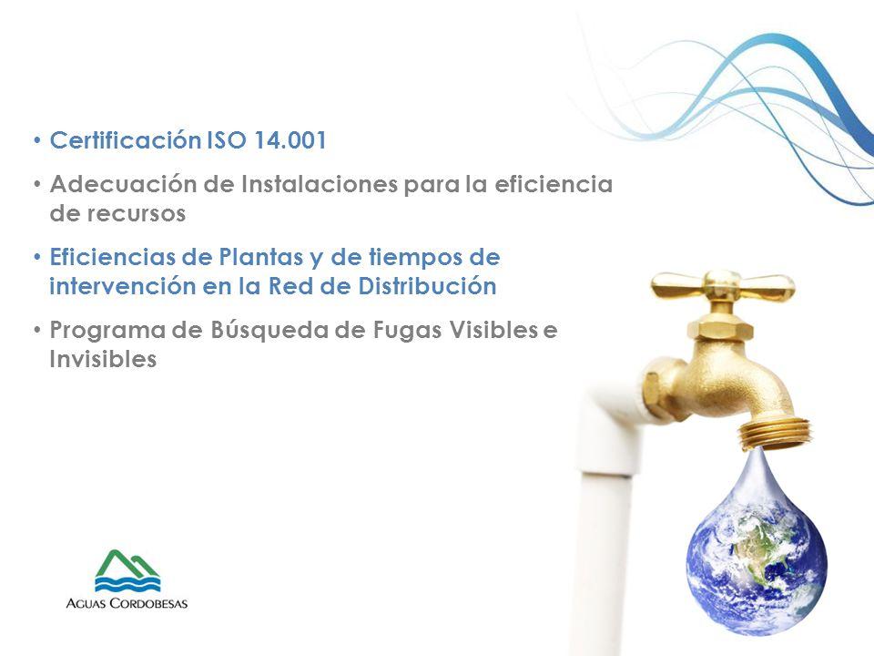 Certificación ISO 14.001 Adecuación de Instalaciones para la eficiencia de recursos Eficiencias de Plantas y de tiempos de intervención en la Red de D