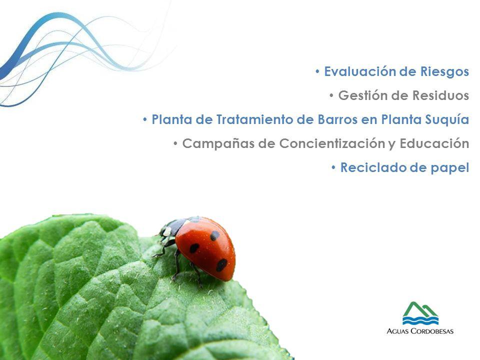 Evaluación de Riesgos Gestión de Residuos Planta de Tratamiento de Barros en Planta Suquía Campañas de Concientización y Educación Reciclado de papel