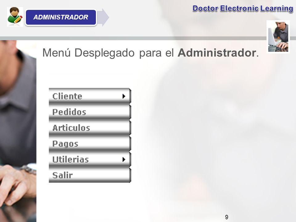 Menú Desplegado para el Administrador. 9 ADMINISTRADOR