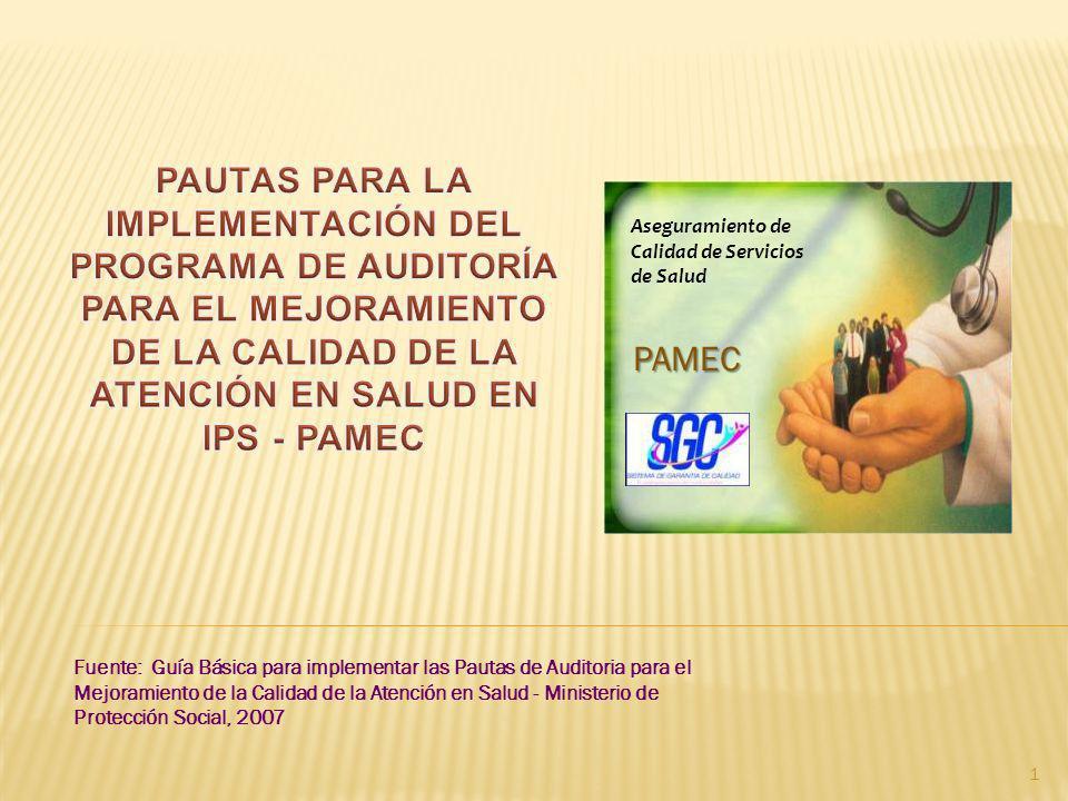 Fuente: Guía Básica para implementar las Pautas de Auditoria para el Mejoramiento de la Calidad de la Atención en Salud - Ministerio de Protección Soc