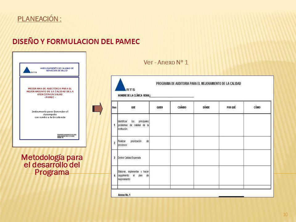 DISEÑO Y FORMULACION DEL PAMEC 10 Ver - Anexo Nº 1 Metodología para el desarrollo del Programa PLANEACIÓN :