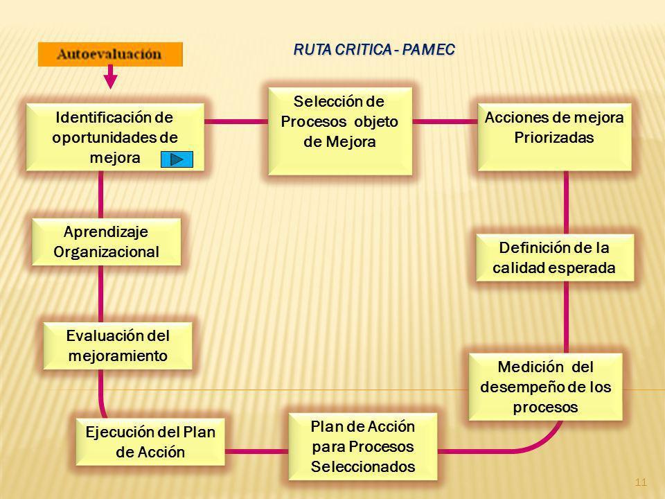 RUTA CRITICA - PAMEC Identificación de oportunidades de mejora Selección de Procesos objeto de Mejora Selección de Procesos objeto de Mejora Acciones