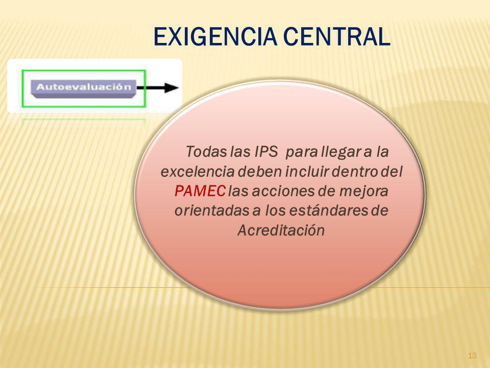 EXIGENCIA CENTRAL Todas las IPS para llegar a la excelencia deben incluir dentro del PAMEC las acciones de mejora orientadas a los estándares de Acred