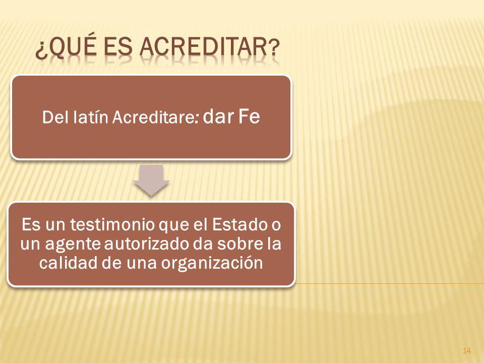 14 Del latín Acreditare: dar Fe Es un testimonio que el Estado o un agente autorizado da sobre la calidad de una organización