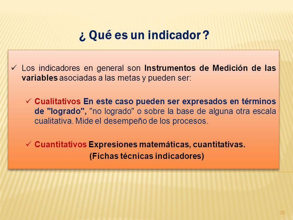 ¿ Qué es un indicador ? Los indicadores en general son Instrumentos de Medición de las variables asociadas a las metas y pueden ser: Cualitativos En e