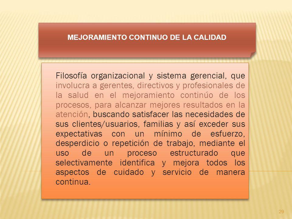 Filosofía organizacional y sistema gerencial, que involucra a gerentes, directivos y profesionales de la salud en el mejoramiento continúo de los proc