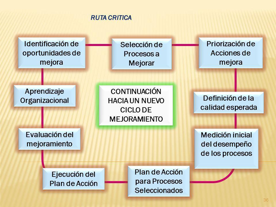 Identificación de oportunidades de mejora Selección de Procesos a Mejorar Selección de Procesos a Mejorar Priorización de Acciones de mejora Definició