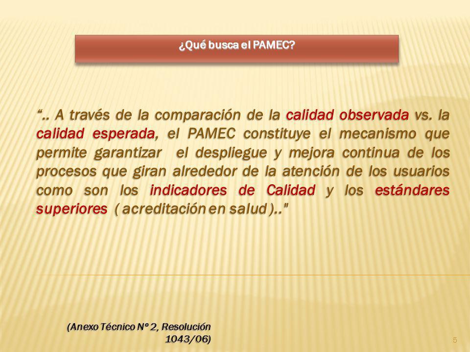 ¿Qué busca el PAMEC? (Anexo Técnico Nº 2, Resolución 1043/06).. A través de la comparación de la calidad observada vs. la calidad esperada, el PAMEC c
