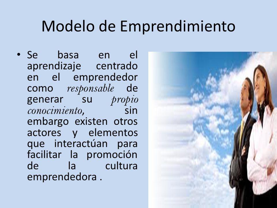 Modelo de Emprendimiento Se basa en el aprendizaje centrado en el emprendedor como responsable de generar su propio conocimiento, sin embargo existen otros actores y elementos que interactúan para facilitar la promoción de la cultura emprendedora.