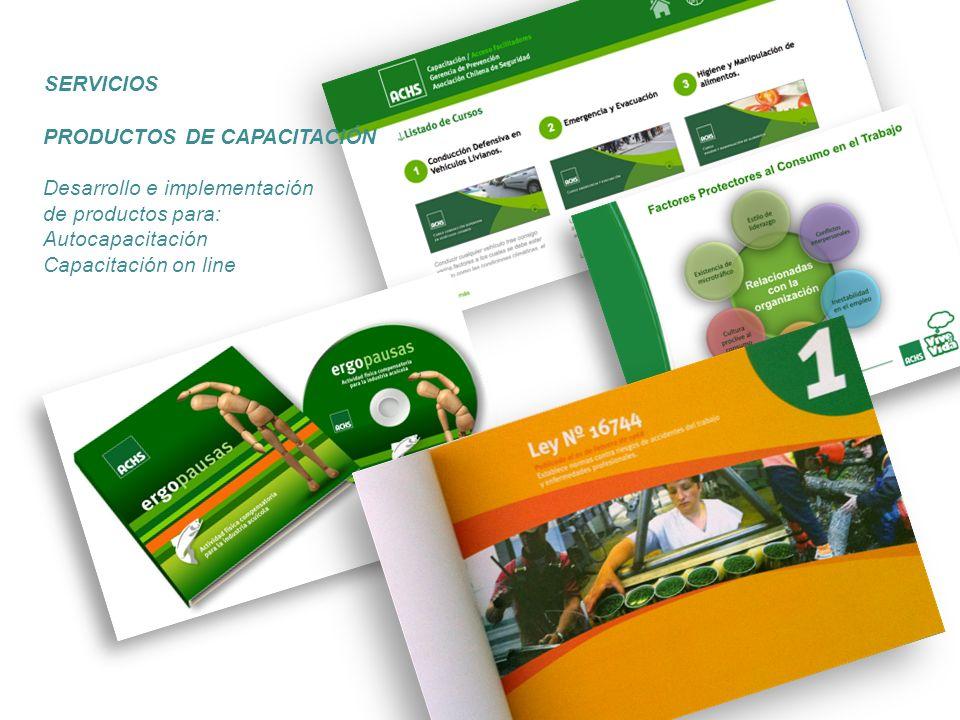 SERVICIOS PRODUCTOS DE CAPACITACIÓN Desarrollo e implementación de productos para: Autocapacitación Capacitación on line