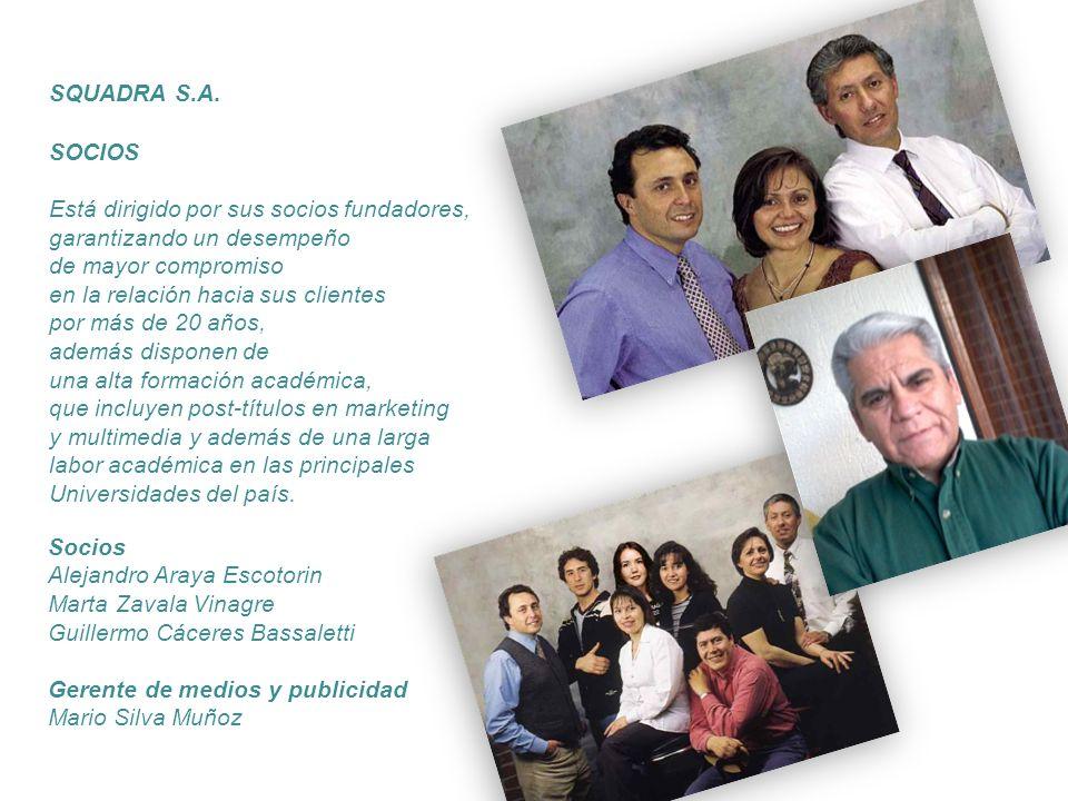 SQUADRA S.A. SOCIOS Está dirigido por sus socios fundadores, garantizando un desempeño de mayor compromiso en la relación hacia sus clientes por más d