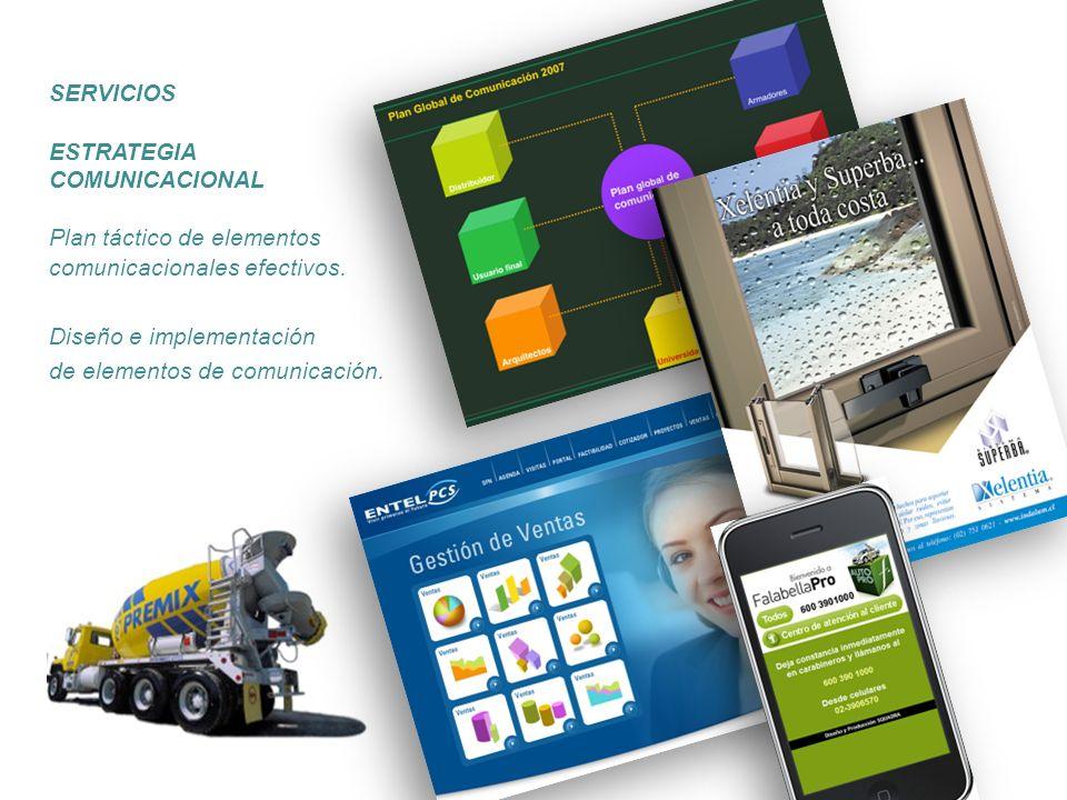 ESTRATEGIA COMUNICACIONAL Plan táctico de elementos comunicacionales efectivos. Diseño e implementación de elementos de comunicación. SERVICIOS