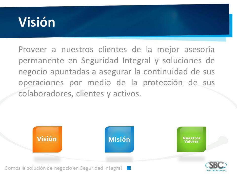 Visión Proveer a nuestros clientes de la mejor asesoría permanente en Seguridad Integral y soluciones de negocio apuntadas a asegurar la continuidad de sus operaciones por medio de la protección de sus colaboradores, clientes y activos.
