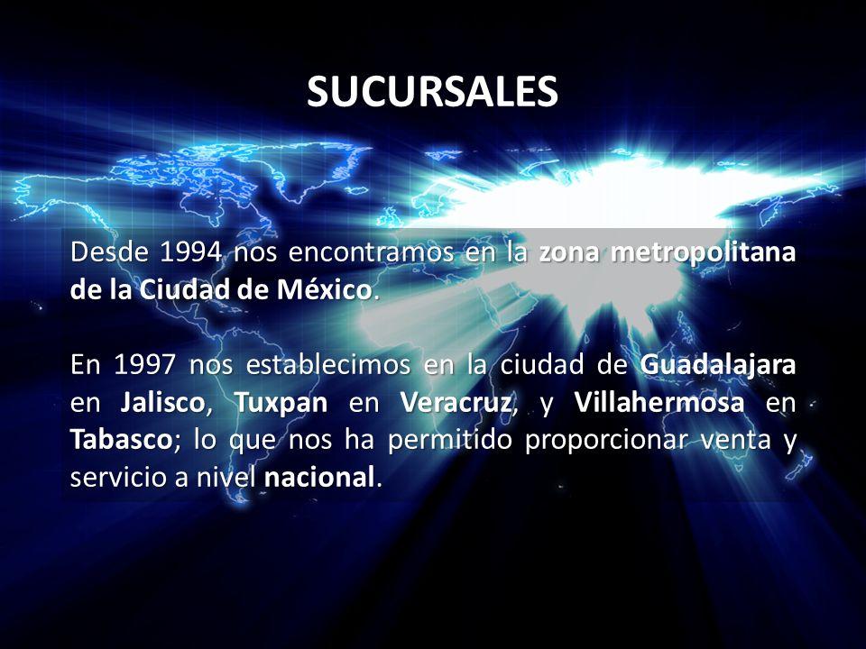SUCURSALES Desde 1994 nos encontramos en la zona metropolitana de la Ciudad de México. En 1997 nos establecimos en la ciudad de Guadalajara en Jalisco