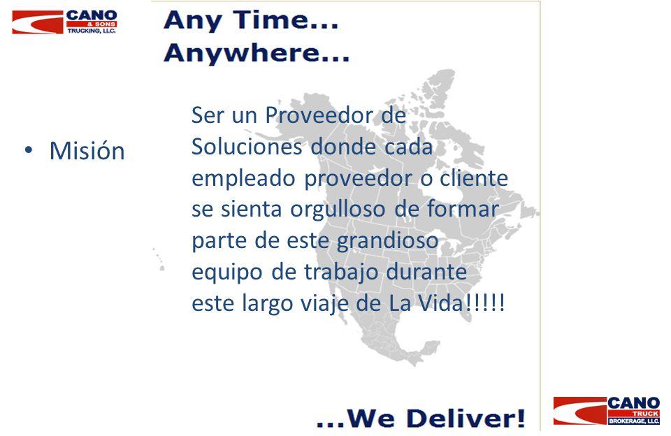 Misión Ser un Proveedor de Soluciones donde cada empleado proveedor o cliente se sienta orgulloso de formar parte de este grandioso equipo de trabajo