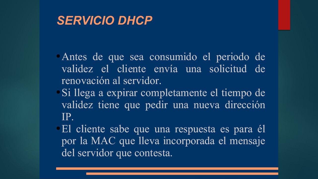 Pasos que ejecuta el servidor DHCP DHCP Discovery DHCPDISCOVER (para ubicar servidores DHCP disponibles) DHCP Discovery es una solicitud DHCP realizada por un cliente de este protocolo para que el servidor DHCP de dicha red de computadoras le asigne una Dirección IP y otros Parámetros DHCP como la máscara de red o el nombre DNS.Parámetros DHCP DHCP Offer DHCPOFFER (respuesta del servidor a un paquete DHCPDISCOVER, que contiene los parámetros iniciales) DHCP Offer es el paquete de respuesta del Servidor DHCP a un cliente DHCP ante su petición de la asignación de los Parámetros DHCP.