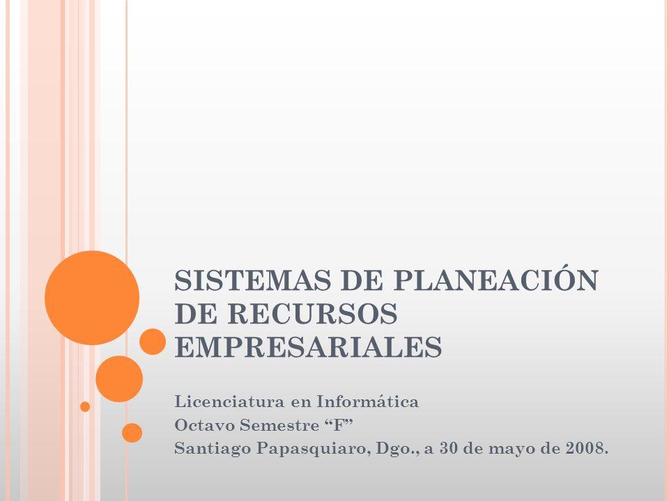 SISTEMAS DE PLANEACIÓN DE RECURSOS EMPRESARIALES Licenciatura en Informática Octavo Semestre F Santiago Papasquiaro, Dgo., a 30 de mayo de 2008.