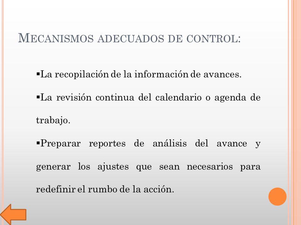 M ECANISMOS ADECUADOS DE CONTROL : La recopilación de la información de avances.
