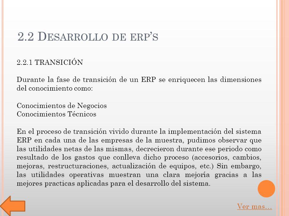 2.2 D ESARROLLO DE ERP S 2.2.1 TRANSICIÓN Durante la fase de transición de un ERP se enriquecen las dimensiones del conocimiento como: Conocimientos de Negocios Conocimientos Técnicos En el proceso de transición vivido durante la implementación del sistema ERP en cada una de las empresas de la muestra, pudimos observar que las utilidades netas de las mismas, decrecieron durante ese periodo como resultado de los gastos que conlleva dicho proceso (accesorios, cambios, mejoras, restructuraciones, actualización de equipos, etc.) Sin embargo, las utilidades operativas muestran una clara mejoría gracias a las mejores practicas aplicadas para el desarrollo del sistema.