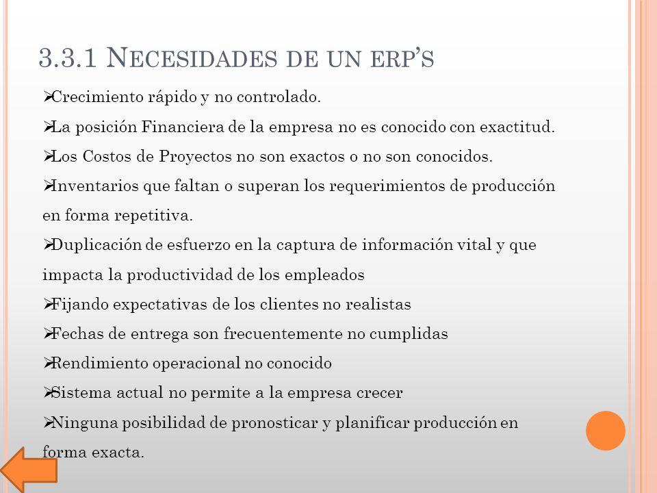 3.3.1 N ECESIDADES DE UN ERP S Crecimiento rápido y no controlado.