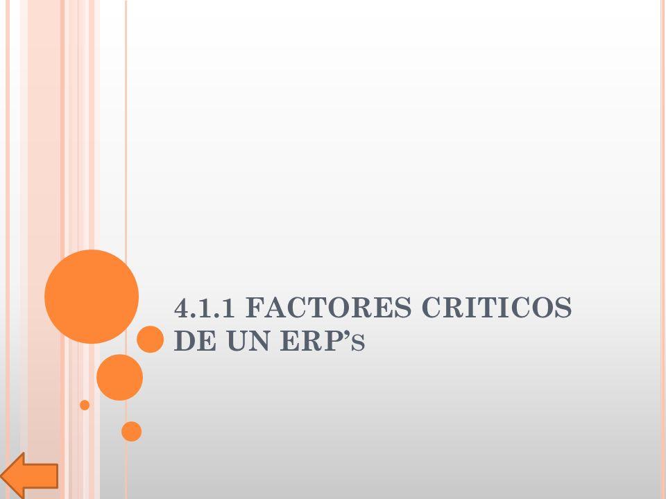 4.1.1 FACTORES CRITICOS DE UN ERP S