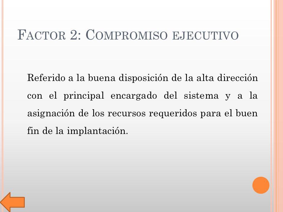 F ACTOR 2: C OMPROMISO EJECUTIVO Referido a la buena disposición de la alta dirección con el principal encargado del sistema y a la asignación de los recursos requeridos para el buen fin de la implantación.