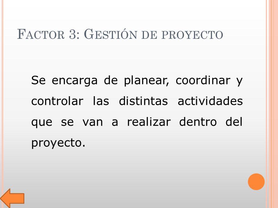 F ACTOR 3: G ESTIÓN DE PROYECTO Se encarga de planear, coordinar y controlar las distintas actividades que se van a realizar dentro del proyecto.